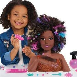 barbie sparkle deluxe styling head afro hair wholesale 42325